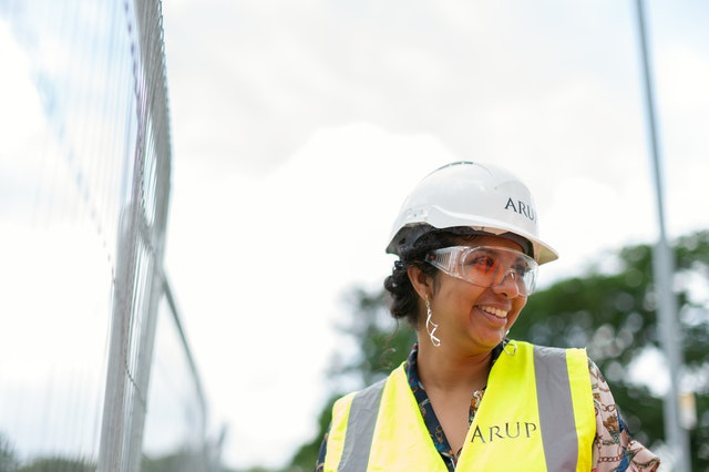 woman subcontractor managing at a construction site